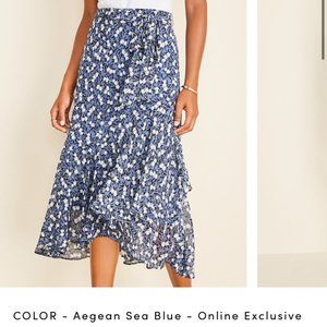 Floral Wrap Flounce Skirt- Ann Taylor